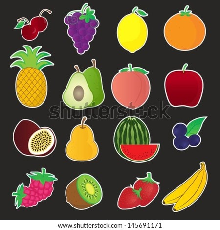 Fruits Icons Vector Collection
