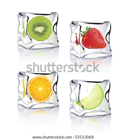 Fruits in ice - stock vector