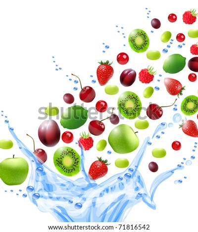 Fruits in water splash. Vector illustration - stock vector