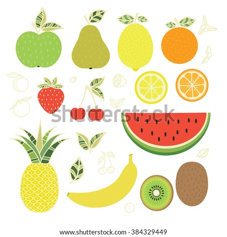 Fruits. Juicy delicious fruits. Juice. Fresh food. Diet. Healthy food. Vector set
