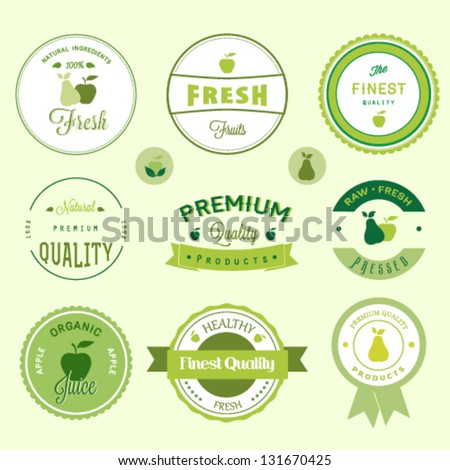 Fruits labels set - stock vector