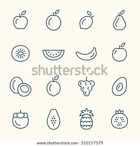 Fruits line icons - stock vector