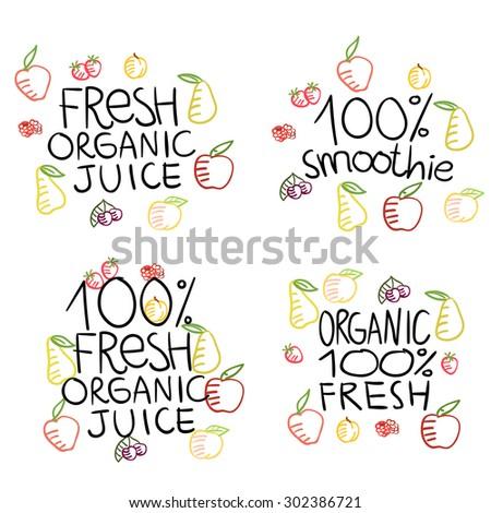 Fruits mix or vector sketch - stock vector