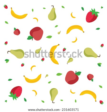 Fruits pattern: apples, bananas, strawberries and green pears on white background, isolated. Vector illustration - stock vector