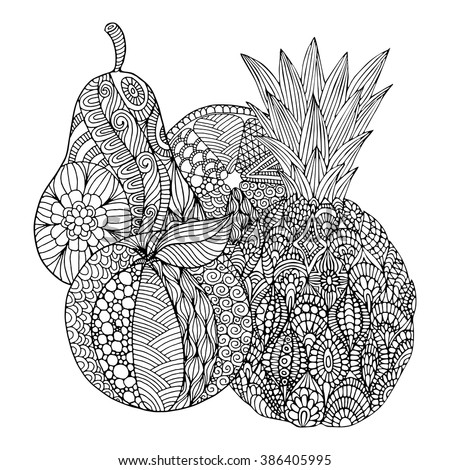 Fruits pattern, zentangle style for coloring books - stock vector