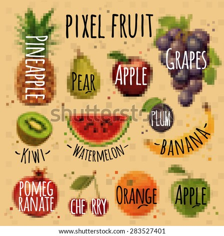 Fruits, pineapple, pear, apple, grapes, kiwi, watermelon, plum, banana, pomegranate, cherry, orange, apple drawing in pixel style on kraft - stock vector