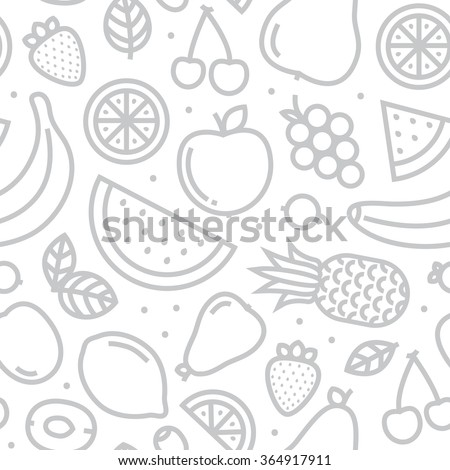 Fruits seamless vector pattern monochrome grey - stock vector
