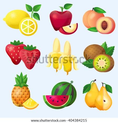Fruits set, color vector illustration - stock vector