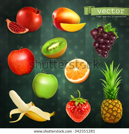Fruits, set of vector illustrations on dark background - stock vector