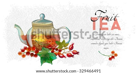 Fruits tea. Watercolor vector background of Tea