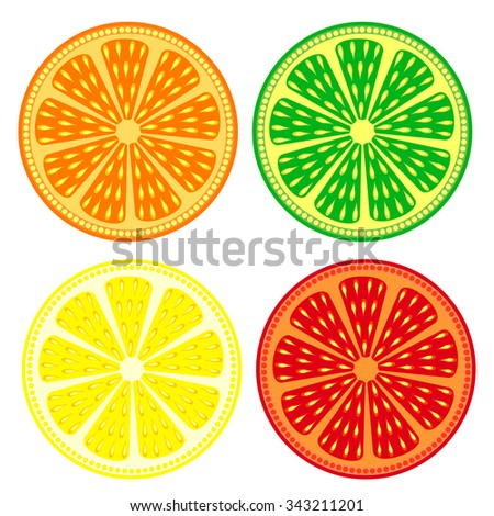 Fruits vector set of citrus: orange, lime, lemon, grapefruit, detailed icons? isolated over white background