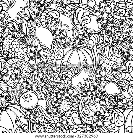 Fruits, vegetables, berries doodle. Healthy food background. Autumn seamless pattern with pumpkin, orange, apple, pear, cherry, strawberry, lemon, pineapple, grapes, plums and flowers.  - stock vector