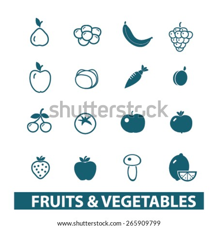 fruits, vegetables icons, signs, illustrations design concept set for appliciation, website, vector on white background - stock vector