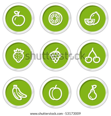Fruits web icons, green circle buttons