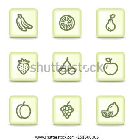 Fruits web icons , salad green buttons