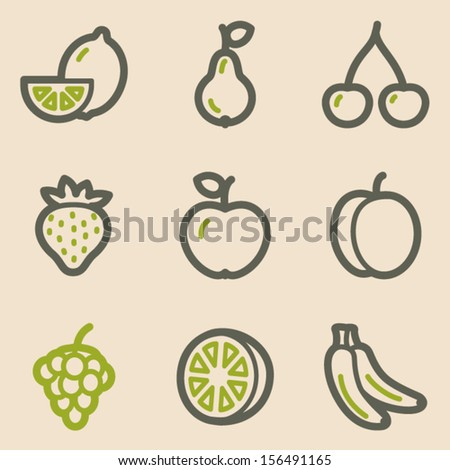 Fruits web icons, vintage series
