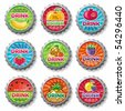 fruity bottle caps 3 - vector set. - stock vector