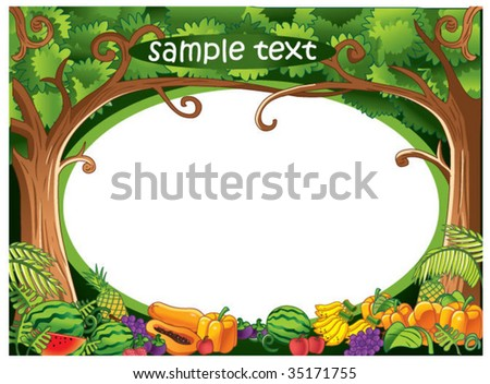 fruity forest border - stock vector
