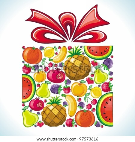 Fruity present. Fruit gift box. Fruits in the form of giftbox. - stock vector