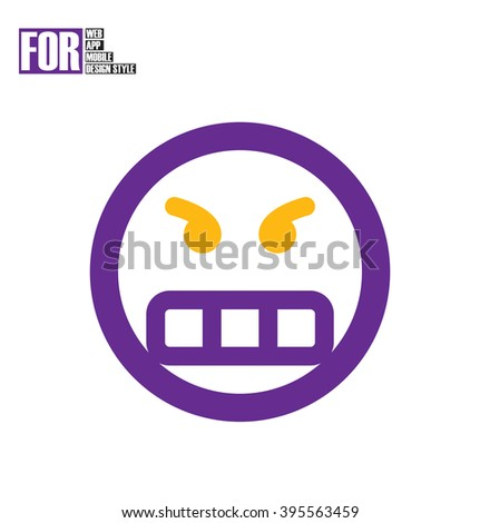 Frustrated smile icon - stock vector