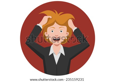 Frustrated woman mouth open angry scream hold hands head upset - stock vector