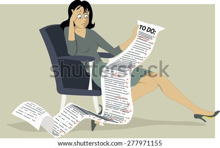 Frustrated woman sitting in a chair, holding a comically long to do list, Vector illustration, no transparencies, EPS 8 - stock vector