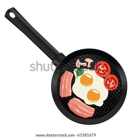 Frying pan with eggs and bacon over white background. Breakfast for two.