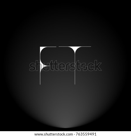 Stock Vector Ft White Thin Minimalist Logo Design With Highlight On Black Background Initial Monogram