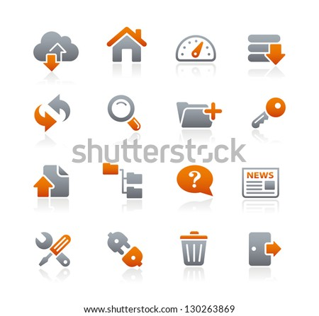FTP & Hosting Icons // Graphite Series - stock vector