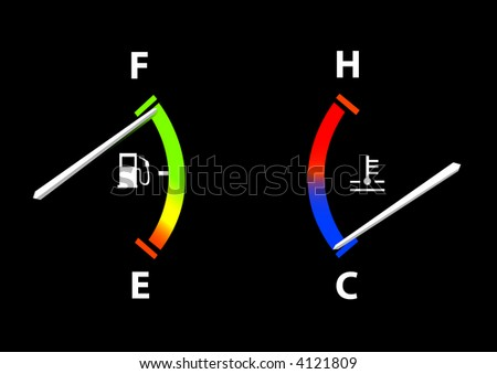 Fuel and Temperature Guages (Vector image fully resizable and editable) - stock vector