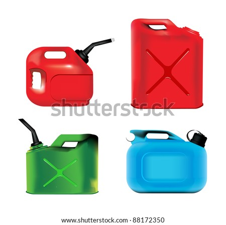 Fuel can set - stock vector