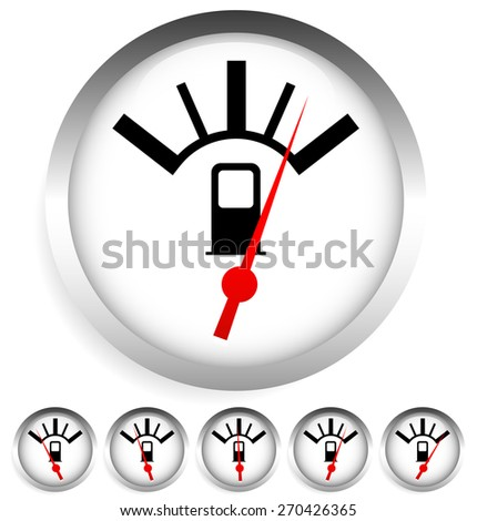 Fuel, gas meter vector elements with red pointer - stock vector