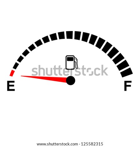 fuel gauge empty on white. - stock vector