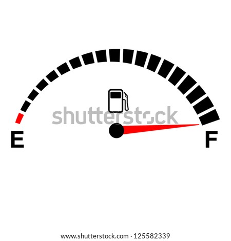 fuel gauge full on white. - stock vector