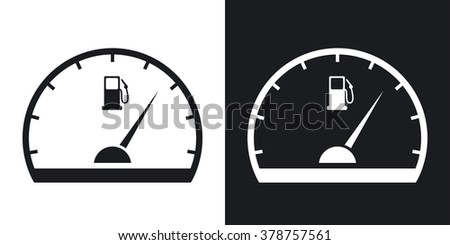 Fuel gauge icon, vector. Two-tone version on black and white background - stock vector