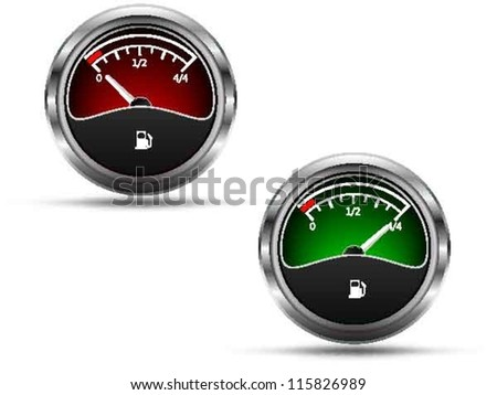 Fuel gauges, empty and full position needle, isolated on white background, vector