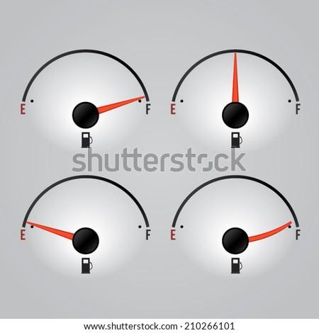 Fuel gauges (low , medium , full). Vector illustration - stock vector