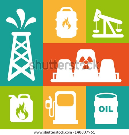 fuel icons over colorful background vector illustration - stock vector
