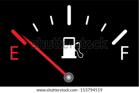 Fuel indicator.illustration on black background. Abstract isolated vector design. Fuel gauge indicating nearly empty. - stock vector