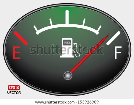Fuel indicator illustration on green and black background. Abstract isolated vector design. Fuel gauge indicating half. Eps10 vector illustration.