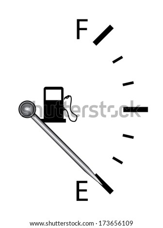 Fuel indicator illustration on white background. Abstract isolated vertical vector design. Fuel gauge indicating nearly empty, raster available in my portfolio.
