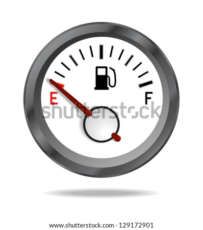 Fuel indicator shows low fuel level. Vector illustration - stock vector