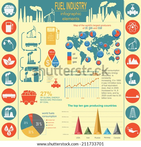 Fuel industry infographic, set elements for creating your own infographics. Vector illustration - stock vector