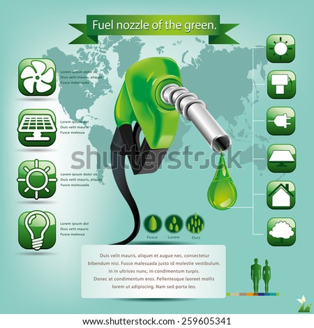 Fuel nozzle of the green. - stock vector