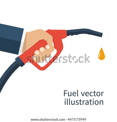 Fuel pump in hand man. Petrol station. Holding fuel nozzle. Gasoline pump with drop.  Vector illustration flat design style. Icon isolation on a white background. - stock vector