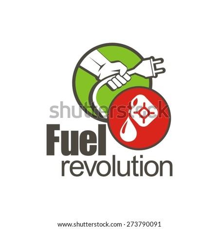 Fuel revolution, hybrid energy, no petrol logo. - stock vector