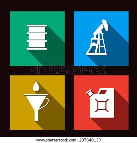 fuel set icons illustration on dark background - stock vector
