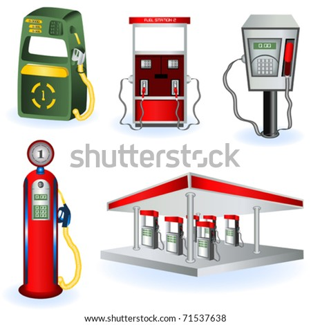 Fuel station images - stock vector