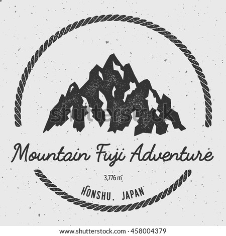 Fuji in Honshu, Japan outdoor adventure logo. Round hiking vector insignia. Climbing, trekking, hiking, mountaineering and other extreme activities logo template.