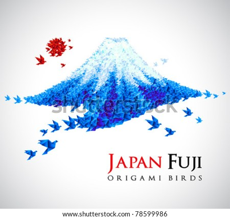 Fuji shaped from origami birds, Japan national symbol. Great for social, culture, travel creative idea designs. - stock vector